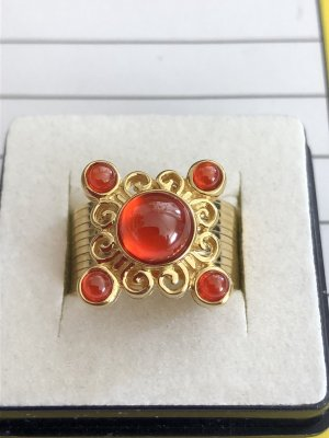 Srebrny pierścionek czerwony neonowy-złotopomarańczowy