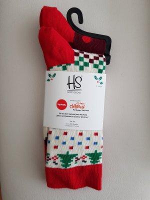 Happy socks Manchetten wit-karmijn