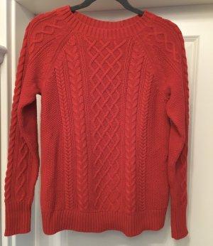 Neuer GAP Sweater Pullover Pulli rot Zopfmuster Strick Gr M