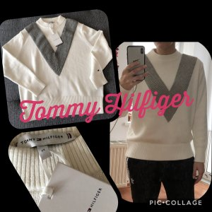 Neuer grau weißer Tommy Hilfiger Strick Pullover Raissa Mock
