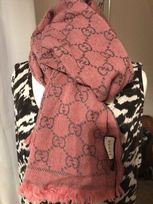 Gucci Écharpe en laine gris-rose