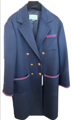 Gucci Wool Coat dark blue wool