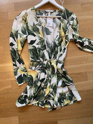 H&M Kopertowa sukienka Wielokolorowy Tkanina z mieszanych włókien