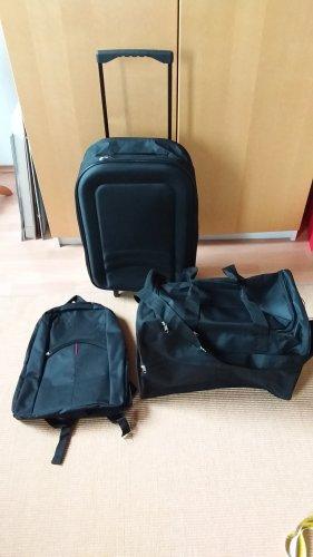 Neuer Koffer, Rucksack und Reisetasche Dreierset in schwarz