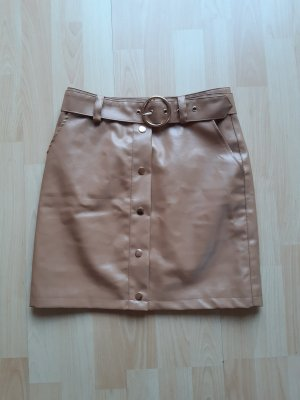 NA-KD Leather Skirt light brown-beige