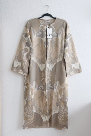 Neuer lockerer Kimono Mantel Cardigan Strickmantel Zara S 36 38 Gold Blätter Fashion Blogger