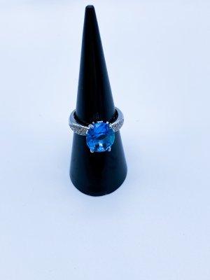 Anello d'argento argento-blu