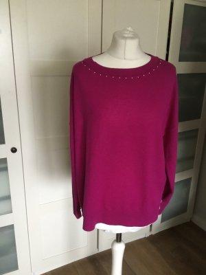 Marc Cain Fine Knit Jumper violet-brown violet silk