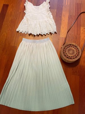 Only Falda midi blanco-menta