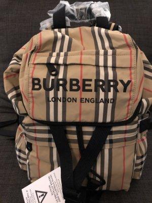 Burberry Sac à dos pour ordinateur portable chameau-noir polyester