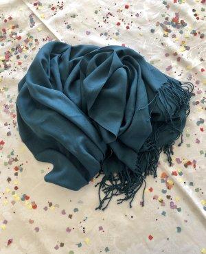 Comma Pashmina bleu pétrole-bleu cadet tissu mixte