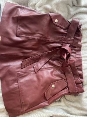 Zara Faux Leather Skirt bordeaux