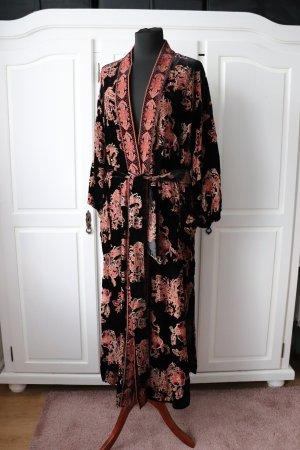 Zara Płaszcz oversize czarny-ciemnoczerwony