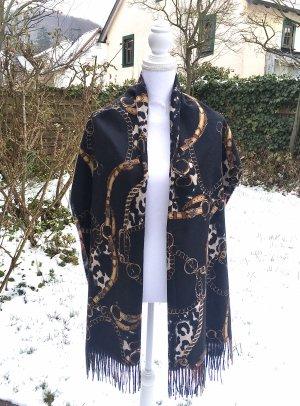 0039 Italy Wollen sjaal zwart-rood Kasjmier