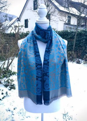 0039 Italy Silk Scarf silver-colored-blue silk