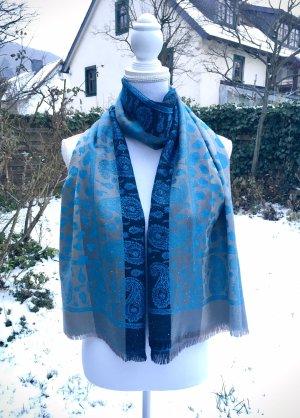 0039 Italy Zijden sjaal zilver-blauw Zijde