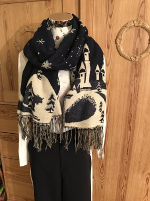 Ohne Woolen Scarf natural white-dark blue silk