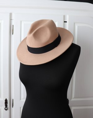 Neuer schöner beiger Fedora Woll Hut von Nakd Onesize