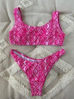 Bikini blanc-rose