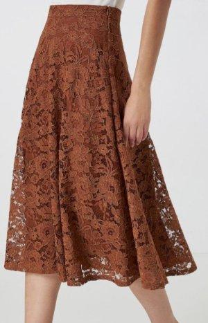 Hallhuber Falda de encaje marrón-coñac