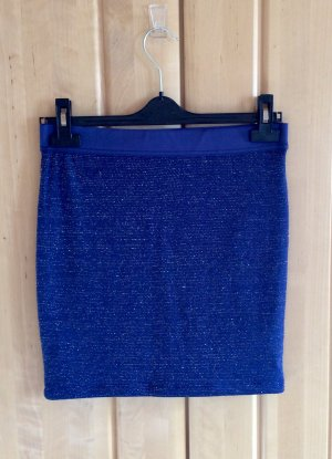 Amisu Minifalda azul oscuro-color plata Poliéster