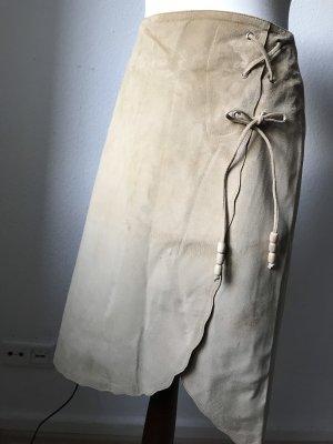Warehouse Falda de cuero beige Cuero