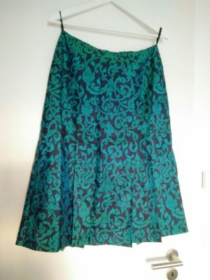 Jupe à franges noir-vert clair soie