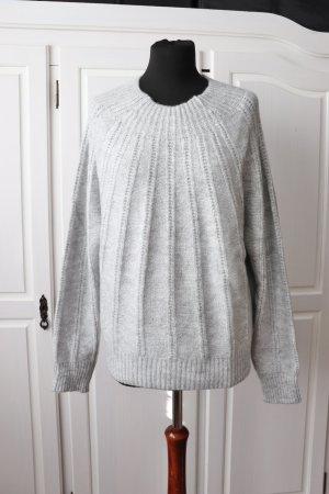 Neuer weicher Pullover mit Struktur Muster von Mango Größe M L 38 40 in grau