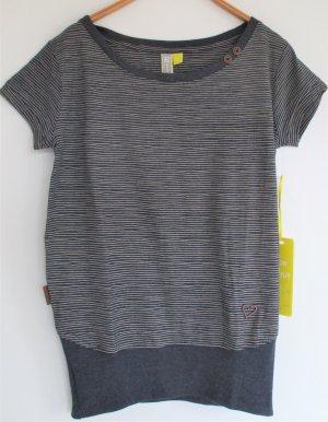 Alife & Kickin Maglietta a righe blu scuro-bianco sporco Cotone