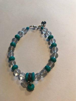 Neues Bergkristall  & Türkis  Edelstein  Armband  mit Anhängerperlen