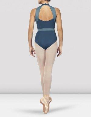 Bloch Swimsuit slate-gray-cornflower blue