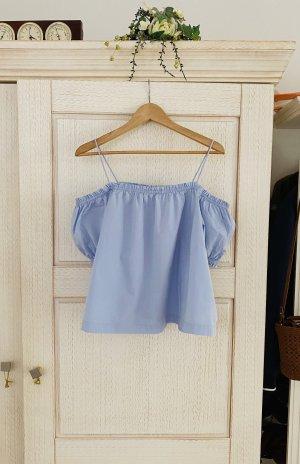 H&M Koszula typu carmen błękitny Bawełna