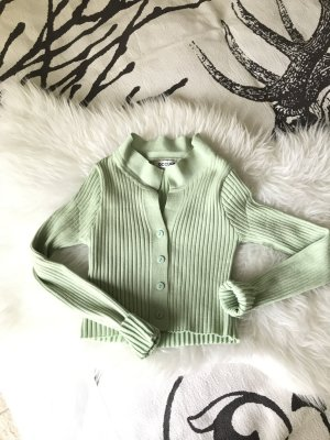 Cropped Shirt pale green-lime-green cotton