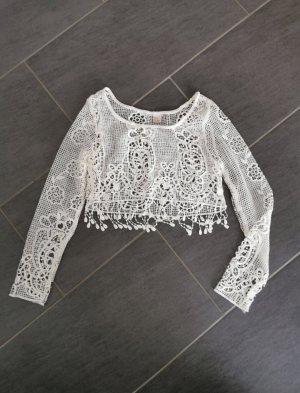 H&M Cropped Shirt natural white
