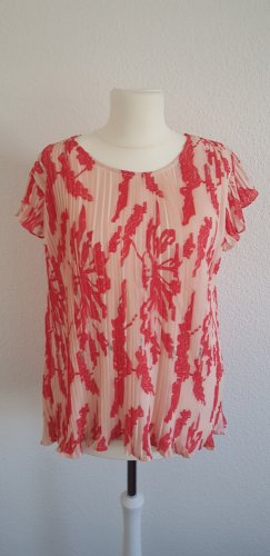 Neues, doppellagiges, plissiertes Shirt rosa-rot mit überschnittenem Arm von Dranella