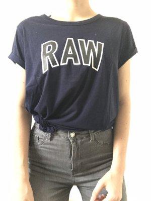 Neues, Dunkelblaues T-Shirt mit Knoten & Druck von G-Star