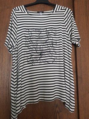 Frapp Koszulka w paski biały-czarny Wiskoza