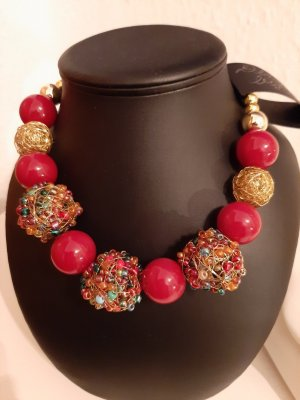Collier Necklace gold-colored-red