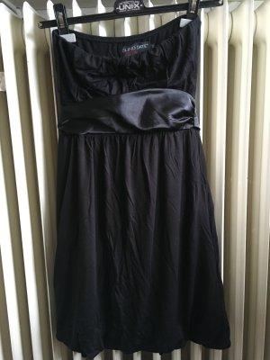 Neues Kleid Minikleid Bandeaukleid mit Schleife schwarz Gr. 36