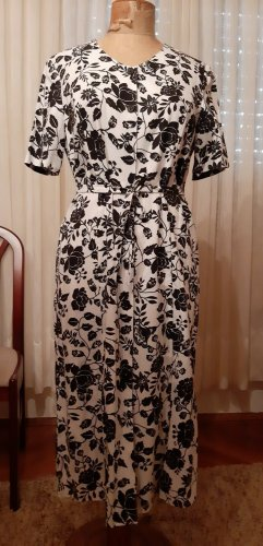 Bexleys Summer Dress white-black linen