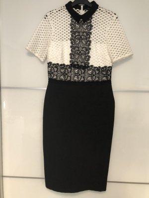 Zara Vestido elástico blanco-negro