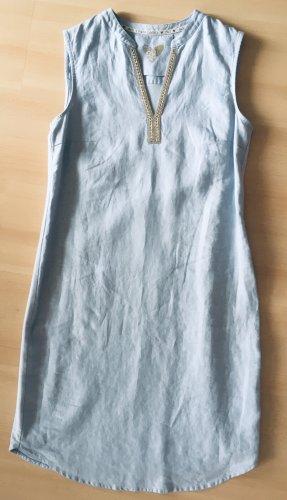 Oui Vestido ceñido de tubo azul celeste Lino