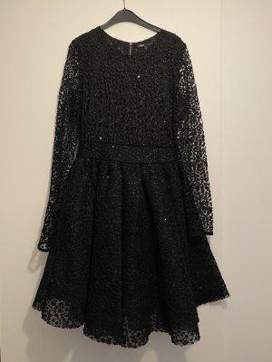 Neues Maje Kleid schwarz spitze Pailletten Glitzer