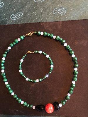 Neues Malachit / Mondsteinperlen Collier & Armband