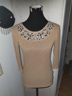 Mango Sweater met korte mouwen goud-lichtbruin