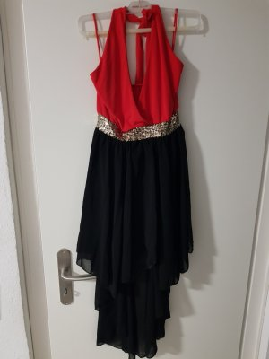 no name Sukienka z dekoltem typu halter ciemnobrązowy-ceglasty Elastan