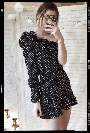 One Shoulder Dress black-white