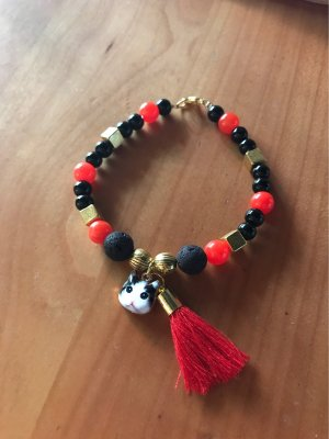 Neues Onyx / roter Achat  Armband ,  mit Katzenkopf &