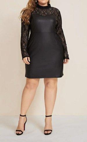 Neues Plus Size Partykleid Gr.46 Gr.XL schwarz Lederkleid Kleid