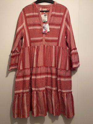 Neues rot pink gemustertes Sommerkleid Aztekenmuster Palimuster